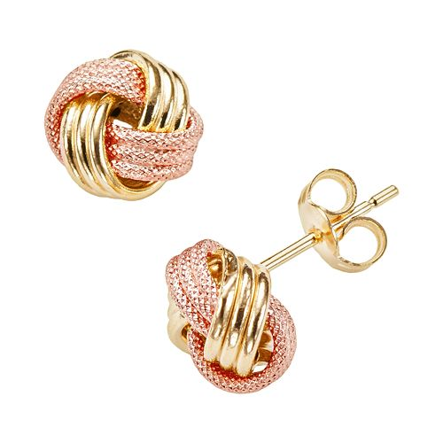 14k Gold Two Tone Textured Love Knot Stud Earrings