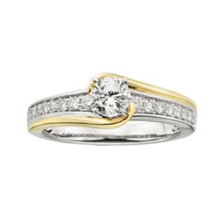 14k Gold Two Tone 3/4-ct. T.W. Round-Cut IGL Certified Diamond Swirl Engagement Ring