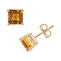 14k Gold Citrine Stud Earrings