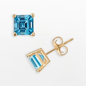 14k Gold Swiss Blue Topaz Stud Earrings