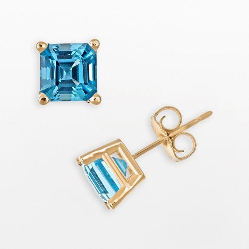14k Gold Swiss Blue Topaz Stud Earrings