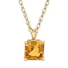 14k Gold Citrine Pendant