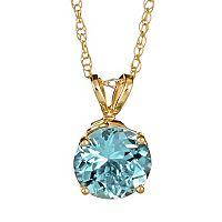 14k Gold Aquamarine Pendant