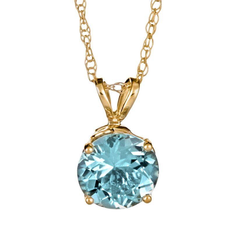 "14k Gold Aquamarine Pendant, Women's, Size: 18"", Blue"