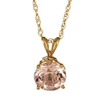 14k Gold Morganite Pendant