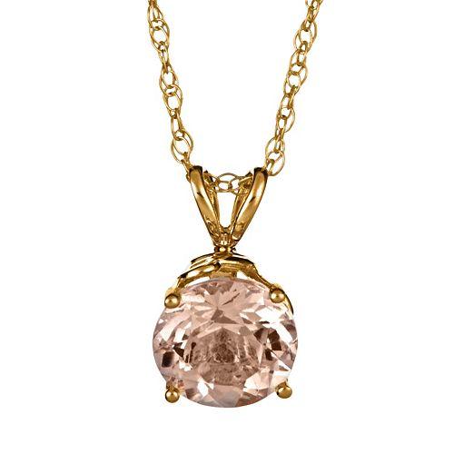 14k Gold Morganite Pendant