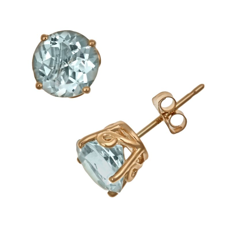kohl s earrings studs 14k gold aquamarine stud earrings 2179