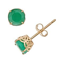 14k Gold Emerald Stud Earrings