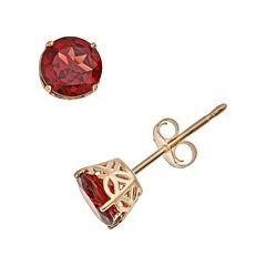 14k Gold Garnet Stud Earrings