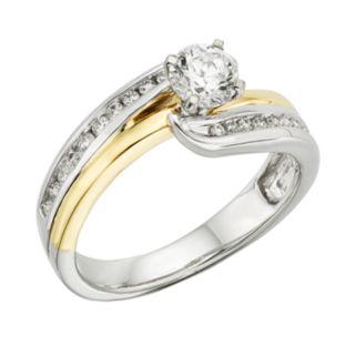 14k Gold Two Tone 3/4-ct. T.W. Round-Cut  IGL Certified Diamond Swirl Engagement Ring