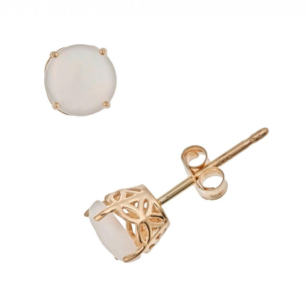 14k Gold Opal Stud Earrings