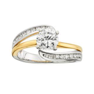 14k Gold Two Tone 1 1/4-ct. T.W. Round-Cut  IGL Certified Diamond Swirl Engagement Ring