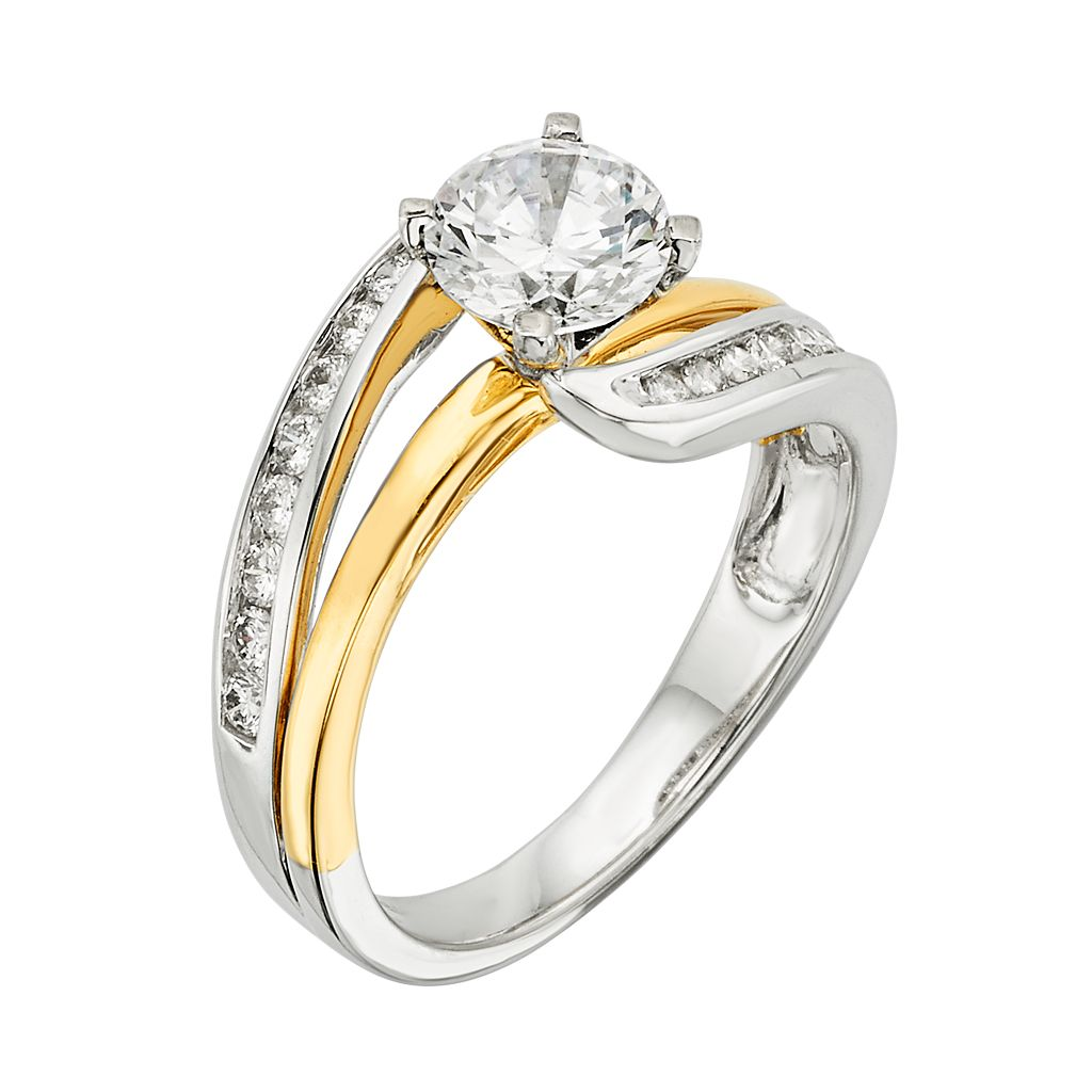 14k Gold Two Tone 1 1/4-ct. T.W. Round-Cut IGL Certified Diamond Swirl Engagement Ring