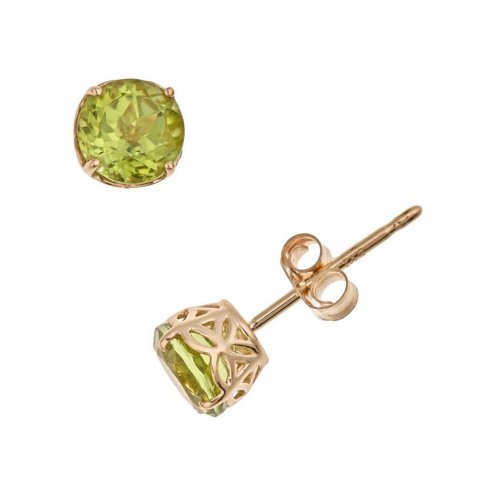 14k Gold Peridot Stud Earrings