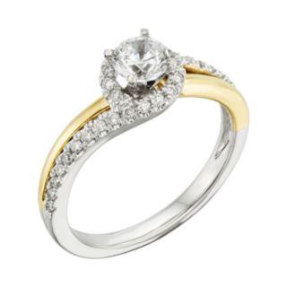 14k Gold Two Tone 3/4-ct. T.W. Round-Cut IGL Certified Diamond Swirl Ring