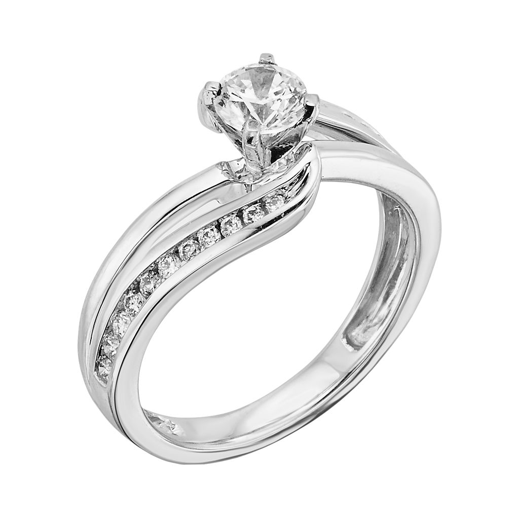 14k White Gold 3/4-ct. T.W. Round-Cut IGL Certified Diamond Swirl Engagement Ring