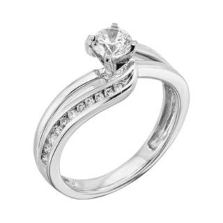 14k White Gold 3/4-ct. T.W. Round-Cut IGL Certified Diamond Swirl Engagement Ring