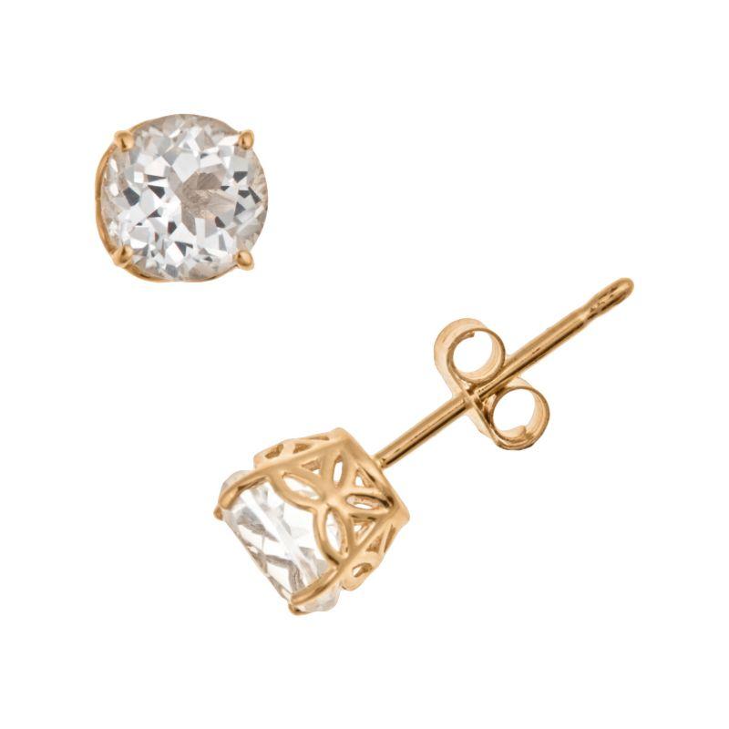 14k Gold White Topaz Stud Earrings, Women's