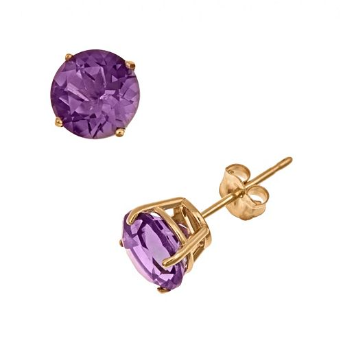 14k Gold African Amethyst Stud Earrings