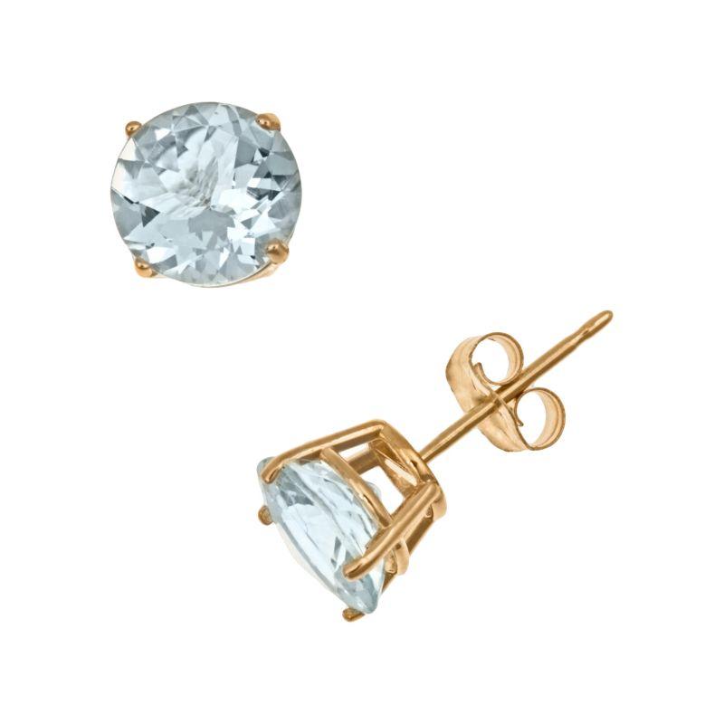 14k Gold Aquamarine Stud Earrings, Women's, Blue