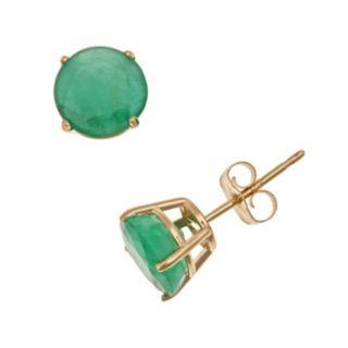 14k Gold Emerald Stud Earrings