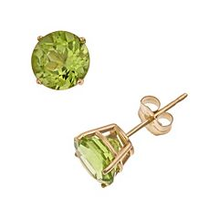 14k Gold Peridot Stud Earrings