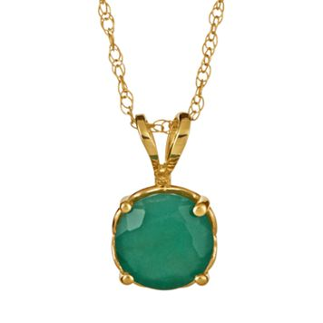 14k Gold Emerald Pendant