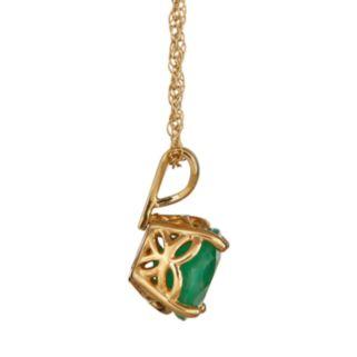 14k Gold Emerald Pendant
