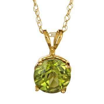 14k Gold Peridot Pendant
