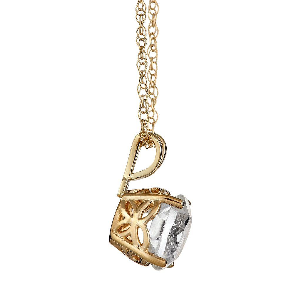 14k Gold White Topaz Pendant