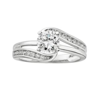 14k White Gold 1 1/4-ct. T.W.Round-Cut  IGL Certified Diamond Swirl Engagement Ring