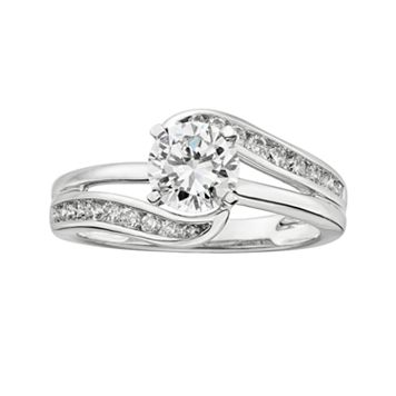 14k White Gold 1 1/4-ct. T.W. Round-Cut IGL Certified Diamond Swirl Engagement Ring