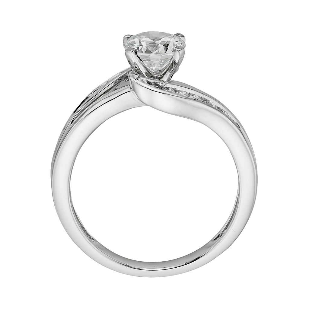 14k White Gold 1 1/4-ct. T.W.Round-Cut IGL Certified Diamond Swirl Engagement Ring