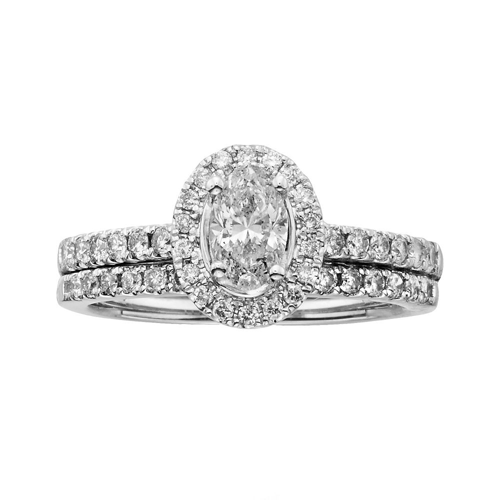 14k White Gold 1-ct. T.W. Oval-Cut IGL Certified Diamond Frame Ring Set