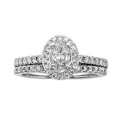 14k White Gold 1-ct. T.W. Oval-Cut IGL Certified Diamond Frame Ring Set