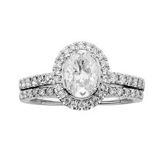 14k White Gold 1 1/2-ct. T.W. Oval-Cut IGL Certified Diamond Frame Ring Set