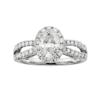 Oval-Cut IGL Certified Diamond Halo Engagement Ring in 14k White Gold (1 1/2 ct. T.W.)