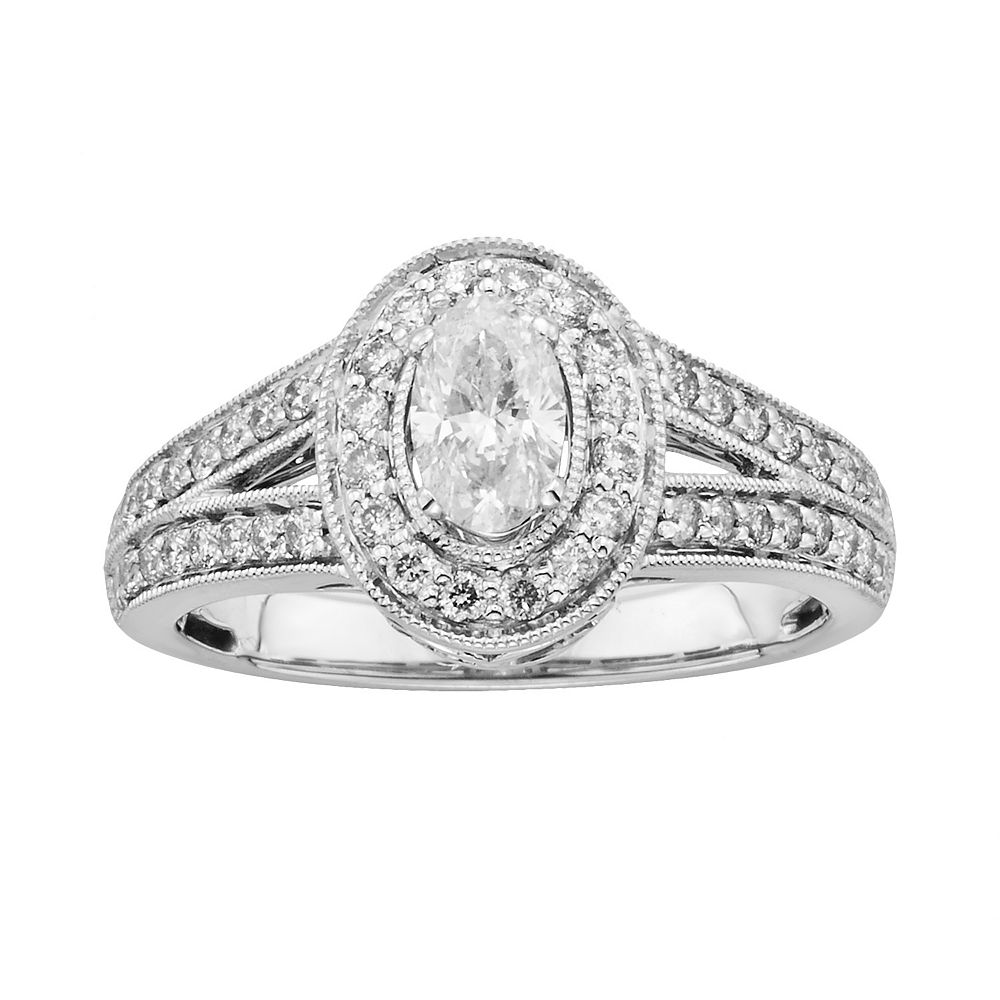 14k White Gold 1-ct. T.W. Oval-Cut IGL Certified Diamond Frame Engagement Ring
