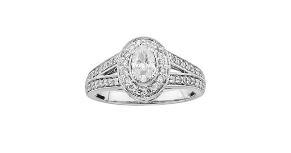 Black Diamond Ring 1 Ct Tw Oval Cut 14k White Gold: 14k White Gold 1-ct. T.W. Oval-Cut IGL Certified Diamond