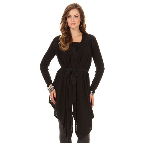 Women's daisy fuentes® Lace Ribbed Cardigan
