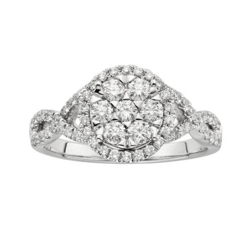 14k White Gold 3/4-ct. T.W. Diamond Circle Crisscross Ring
