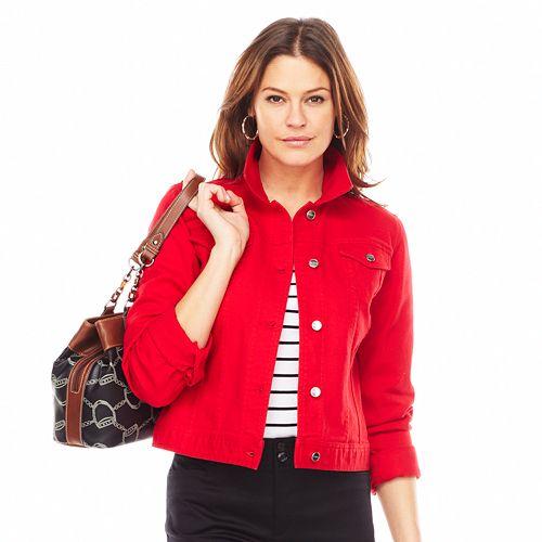 6d09a8796061 Women s Chaps Color Denim Jacket