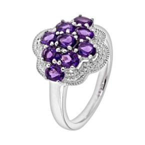 Sterling Silver African Amethyst Cluster Ring