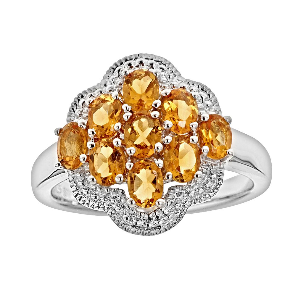 Sterling Silver Citrine Cluster Ring
