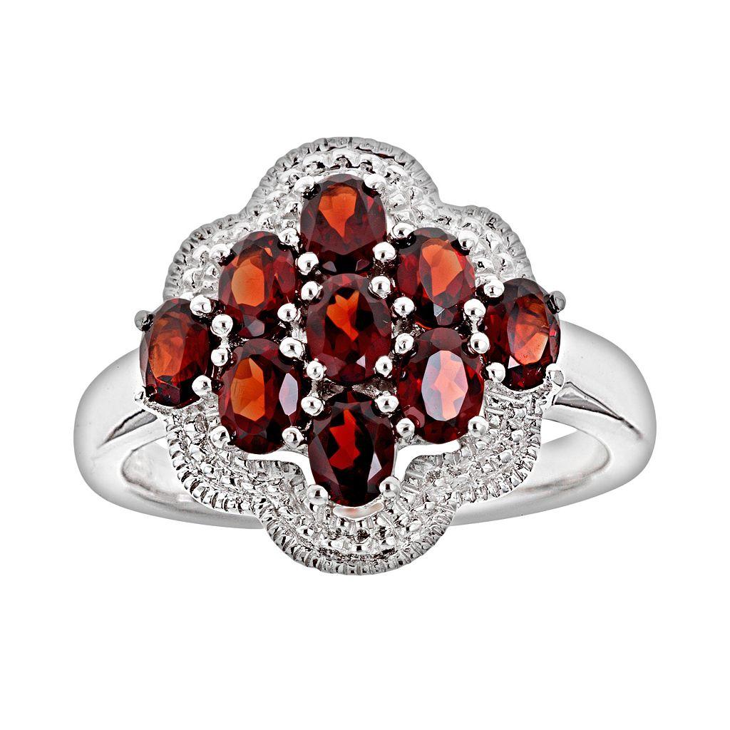 Sterling Silver Garnet Cluster Ring