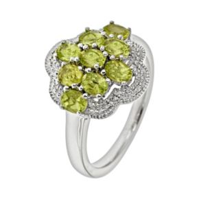 Sterling Silver Peridot Cluster Ring
