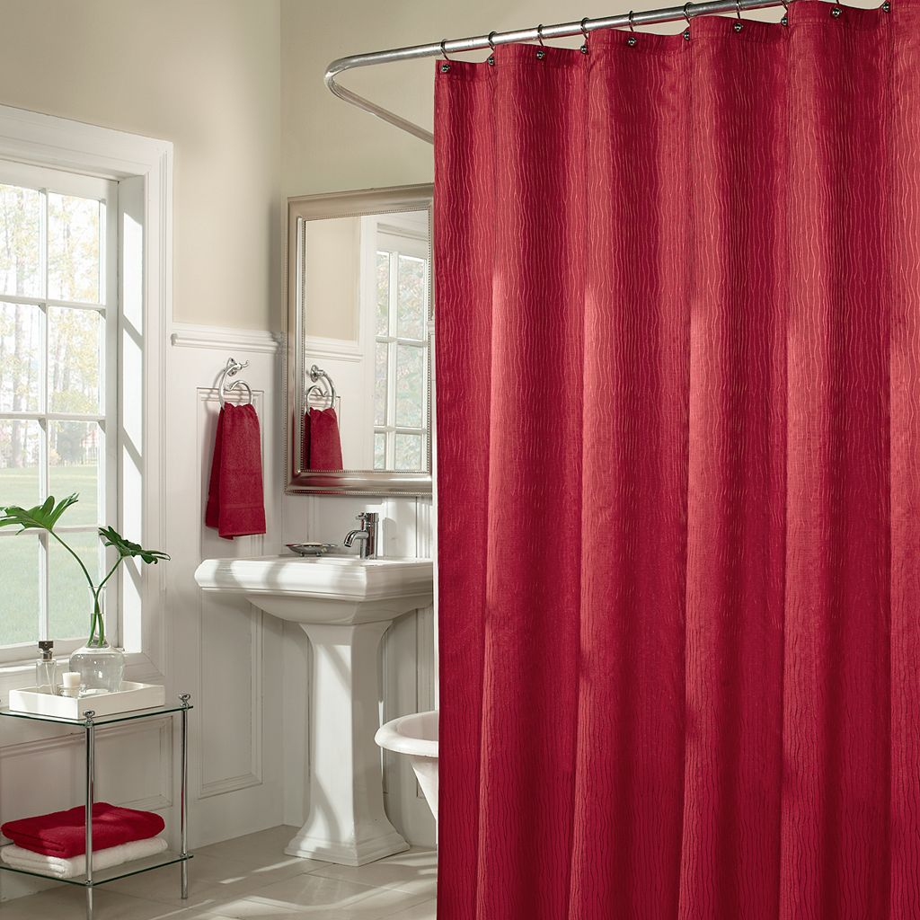 m.style Waves Fabric Shower Curtain