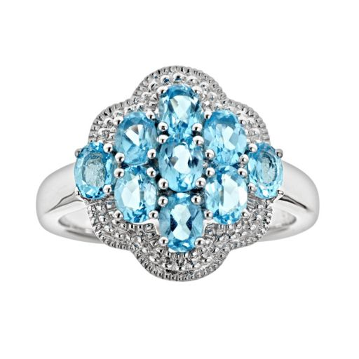 Sterling Silver Swiss Blue Topaz Cluster Ring