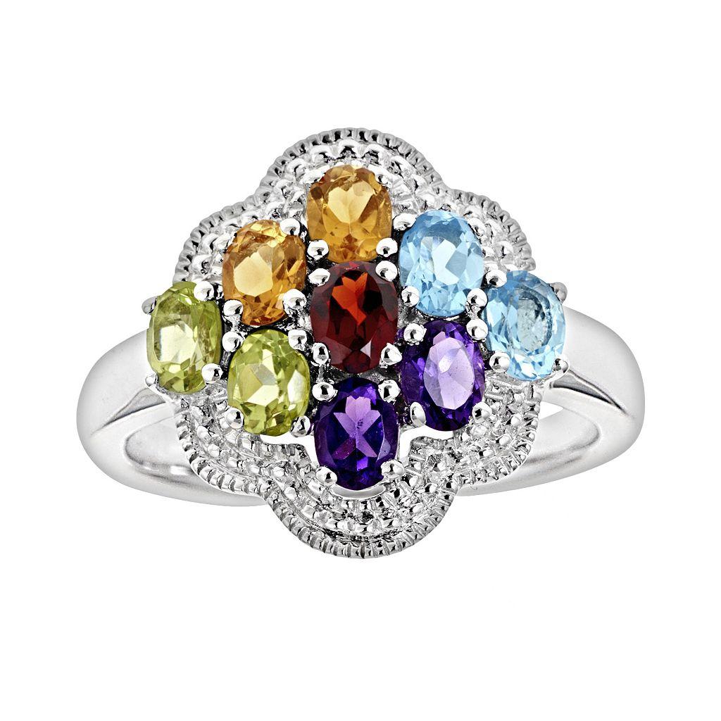 Sterling Silver Gemstone Cluster Ring