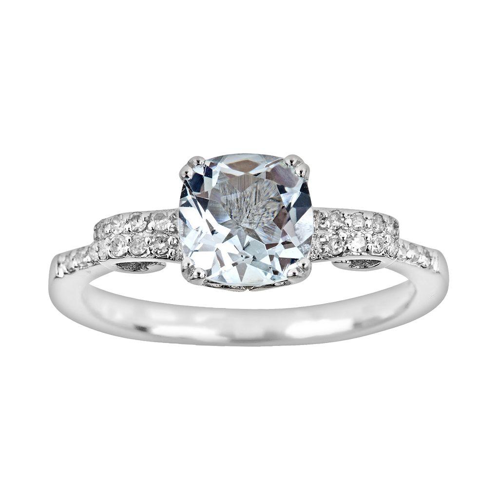 Sterling Silver .11-ct. T.W. Diamond & Aquamarine Ring